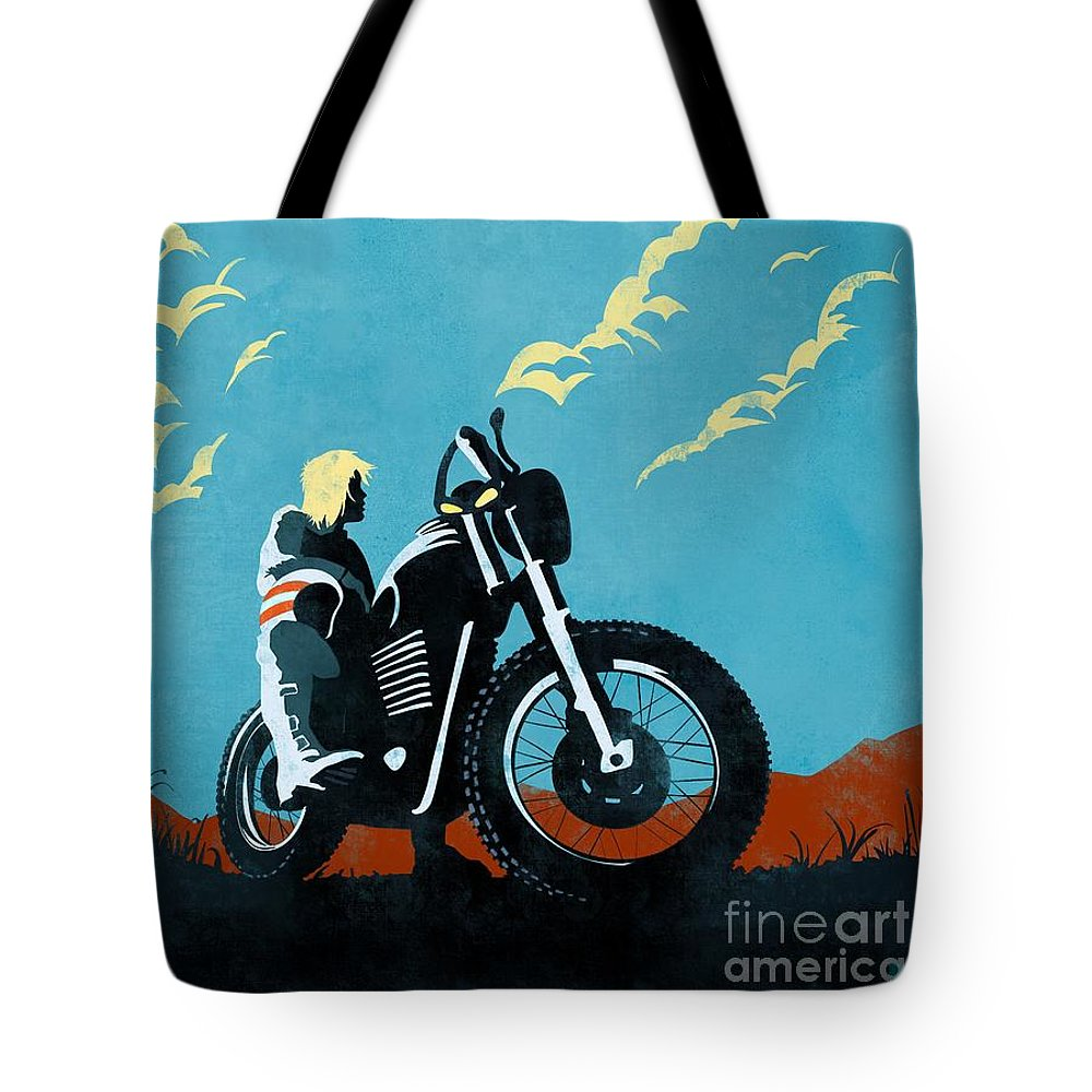 Caferacer Tote Bag featuring the painting Retro Scrambler Motorbike by Sassan Filsoof