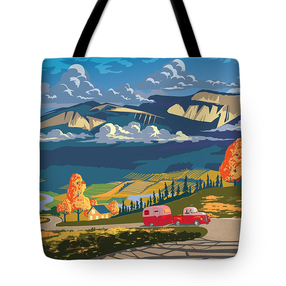 Retro Travel Tote Bag featuring the painting Retro Travel Autumn Landscape by Sassan Filsoof