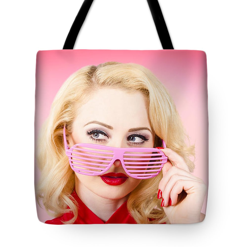 Fashion Tote Bag featuring the photograph Retro Woman Model Wearing Summer Sun Glasses by Jorgo Photography - Wall Art Gallery