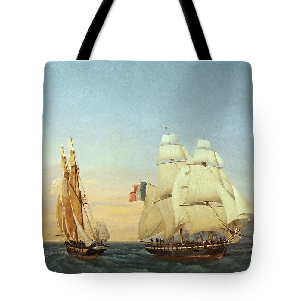 Louis Garneray - Return From Elba Tote Bag featuring the painting Return From Elba by MotionAge Designs