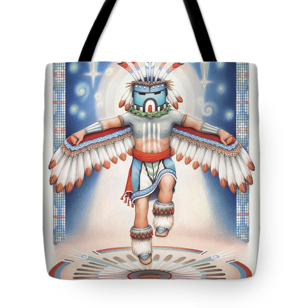 Blue Star Kachina Tote Bag featuring the drawing Return Of The Blue Star Kachina by Amy S Turner