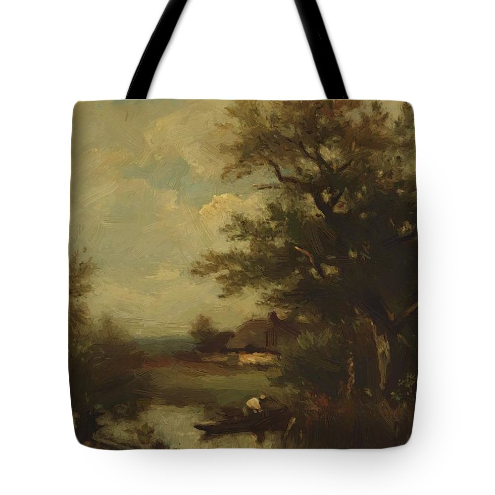 Return Tote Bag featuring the painting Return Of The Fisherman by Dupre Jules