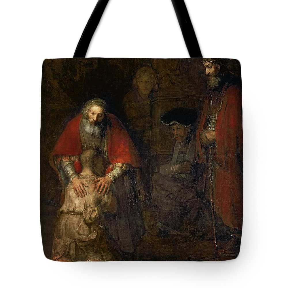 Return Tote Bag featuring the painting Return Of The Prodigal Son by Rembrandt Harmenszoon van Rijn