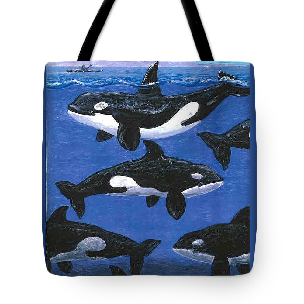 Orcas Tote Bag featuring the painting Return Of The Whale by George I Perez