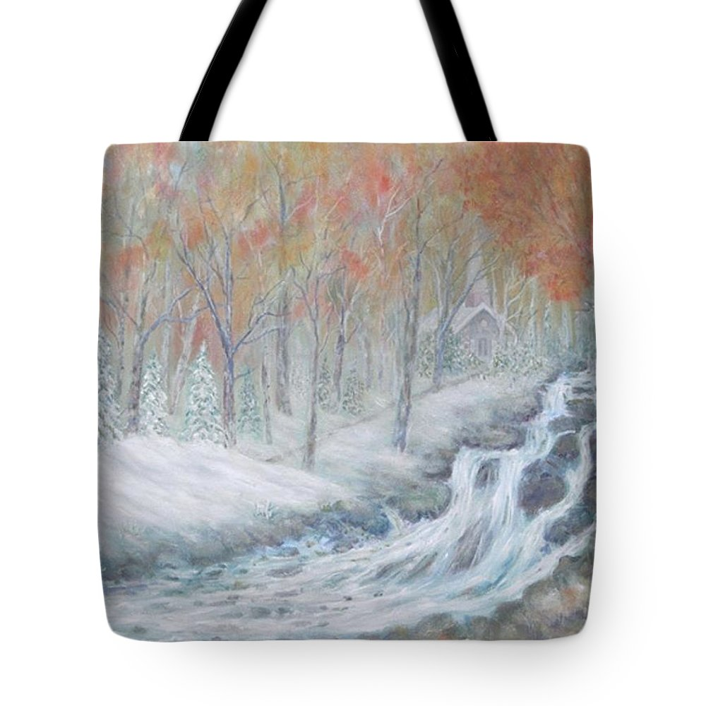 Snow; Landscape; Church Tote Bag featuring the painting Reverence by Ben Kiger