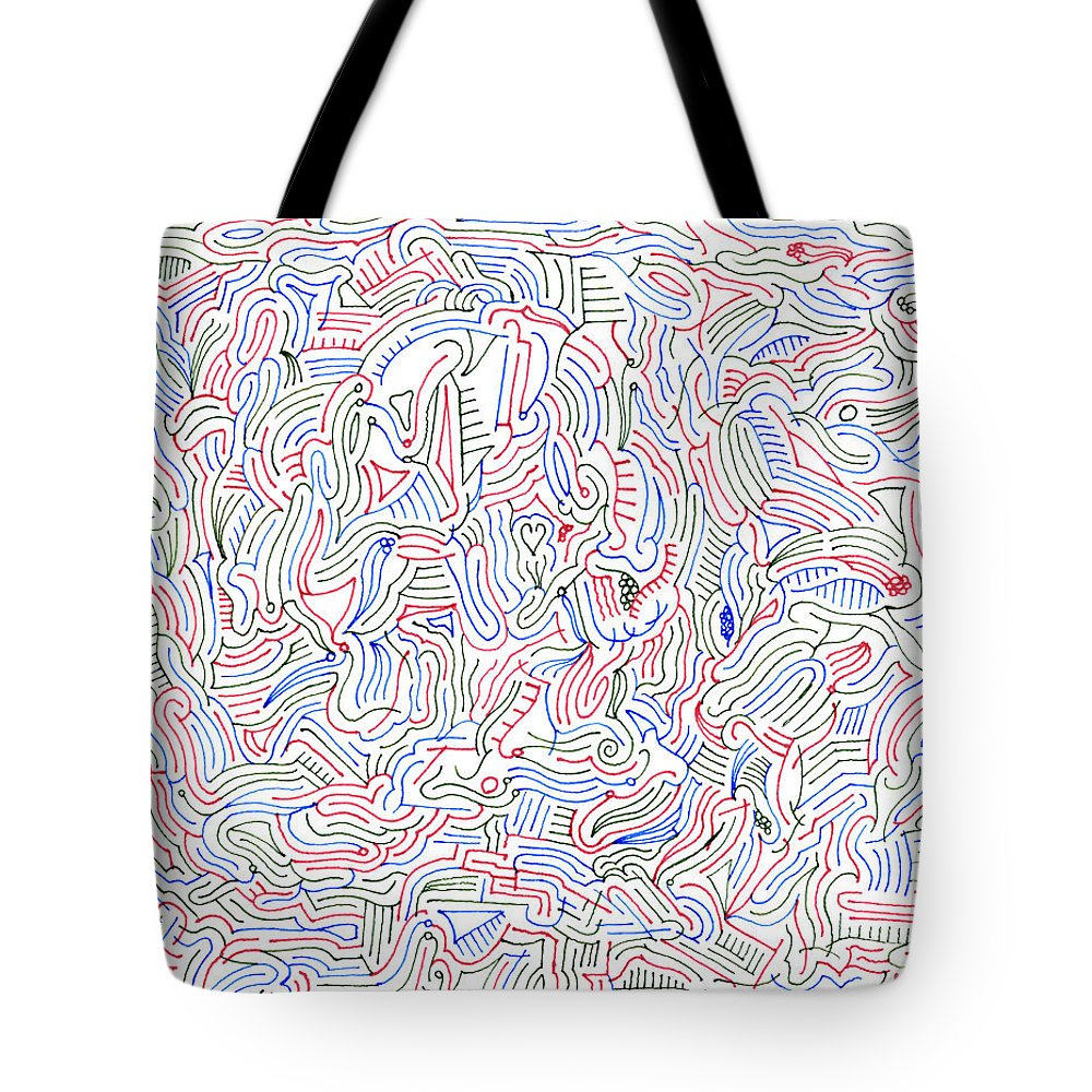 Mazes Tote Bag featuring the drawing Reverie by Steven Natanson