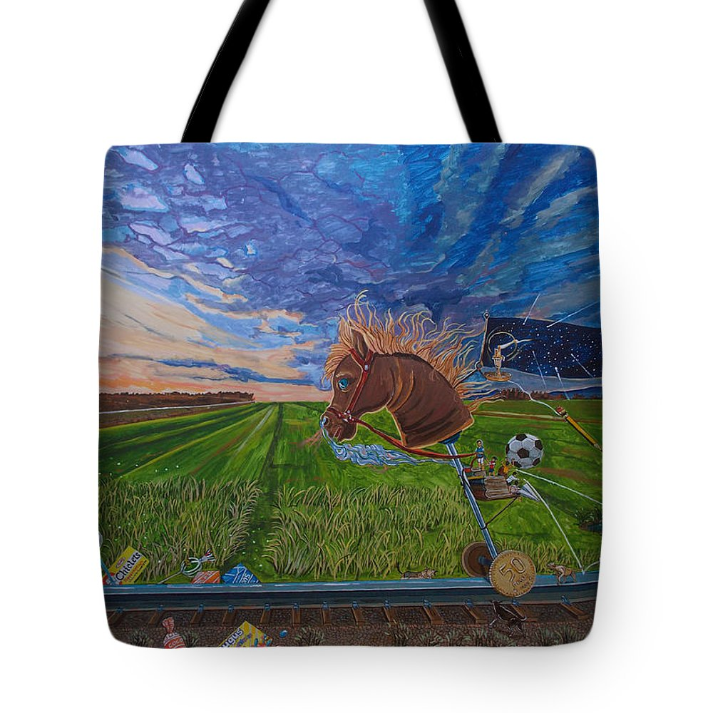 Fantasy Tote Bag featuring the painting Revisiting, The Childhood Ride by Lazaro Hurtado