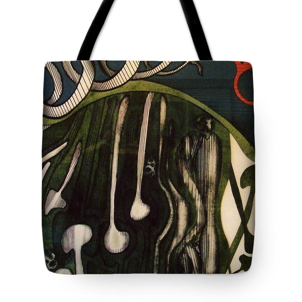 Green Abstract Tote Bag featuring the drawing Rfb0106 by Robert F Battles