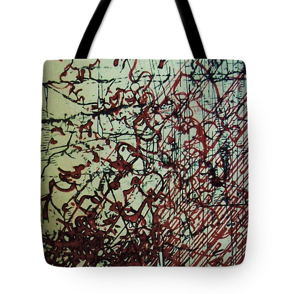 Abstract Drawing Board Tote Bag featuring the drawing Rfb0204 by Robert F Battles