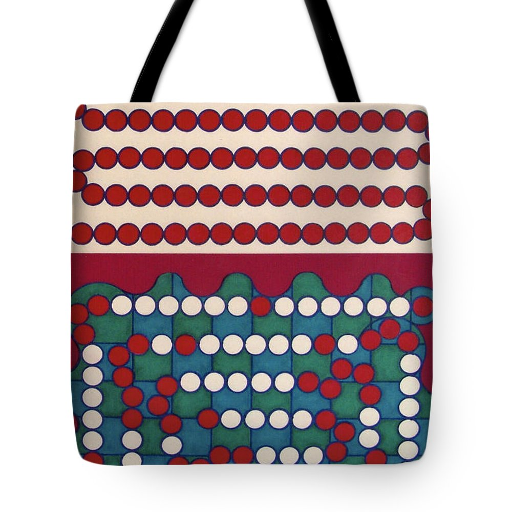Red & White Dots Tote Bag featuring the drawing Rfb0411 by Robert F Battles