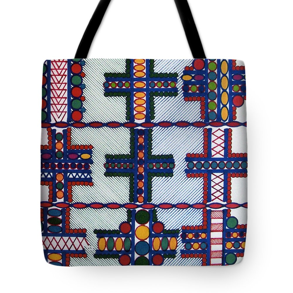 Abstract Crosses Tote Bag featuring the drawing Rfb0413 by Robert F Battles