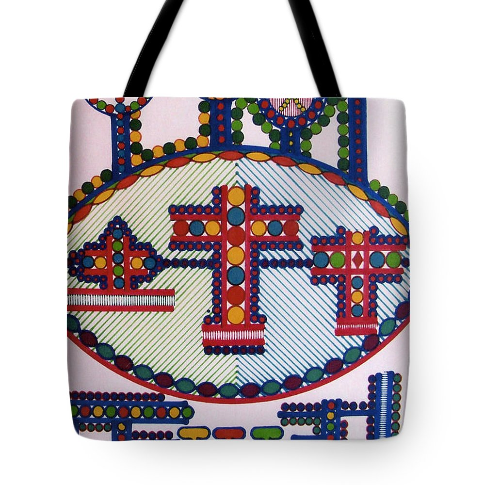 Abstract Crosses Tote Bag featuring the drawing Rfb0416 by Robert F Battles