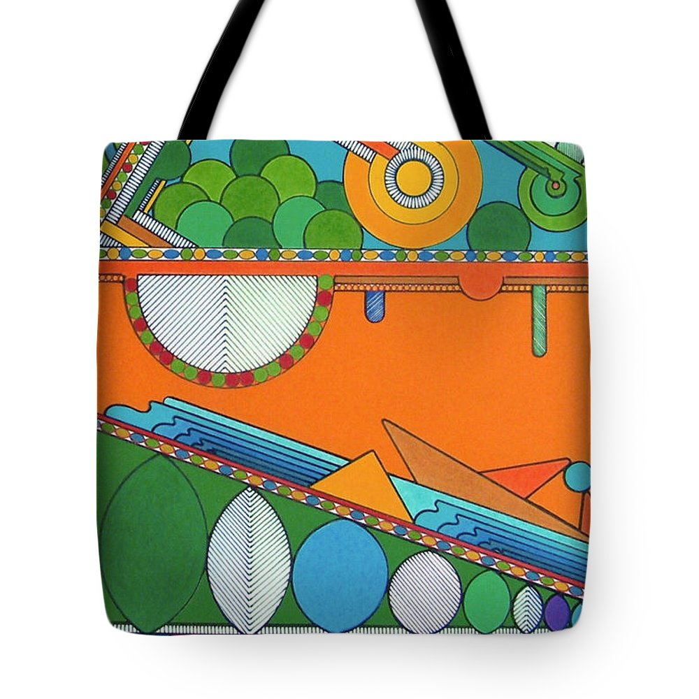 Underground Abstract Tote Bag featuring the drawing Rfb0425 by Robert F Battles