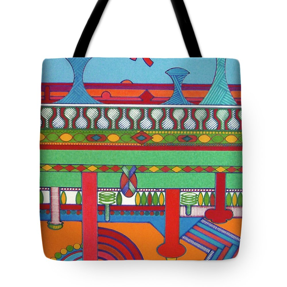 Beaming Towers Tote Bag featuring the drawing Rfb0427 by Robert F Battles