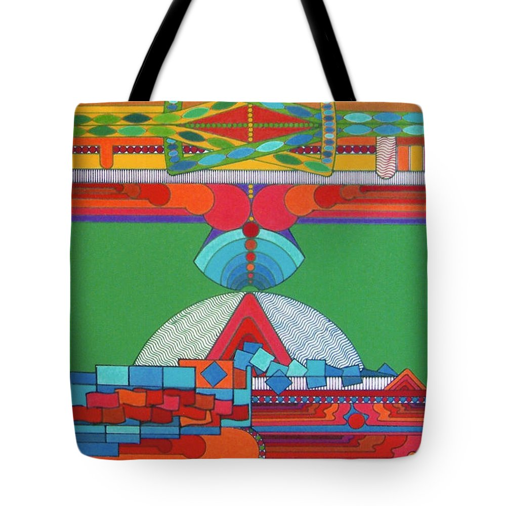 Stadium Of Color Tote Bag featuring the drawing Rfb0428 by Robert F Battles