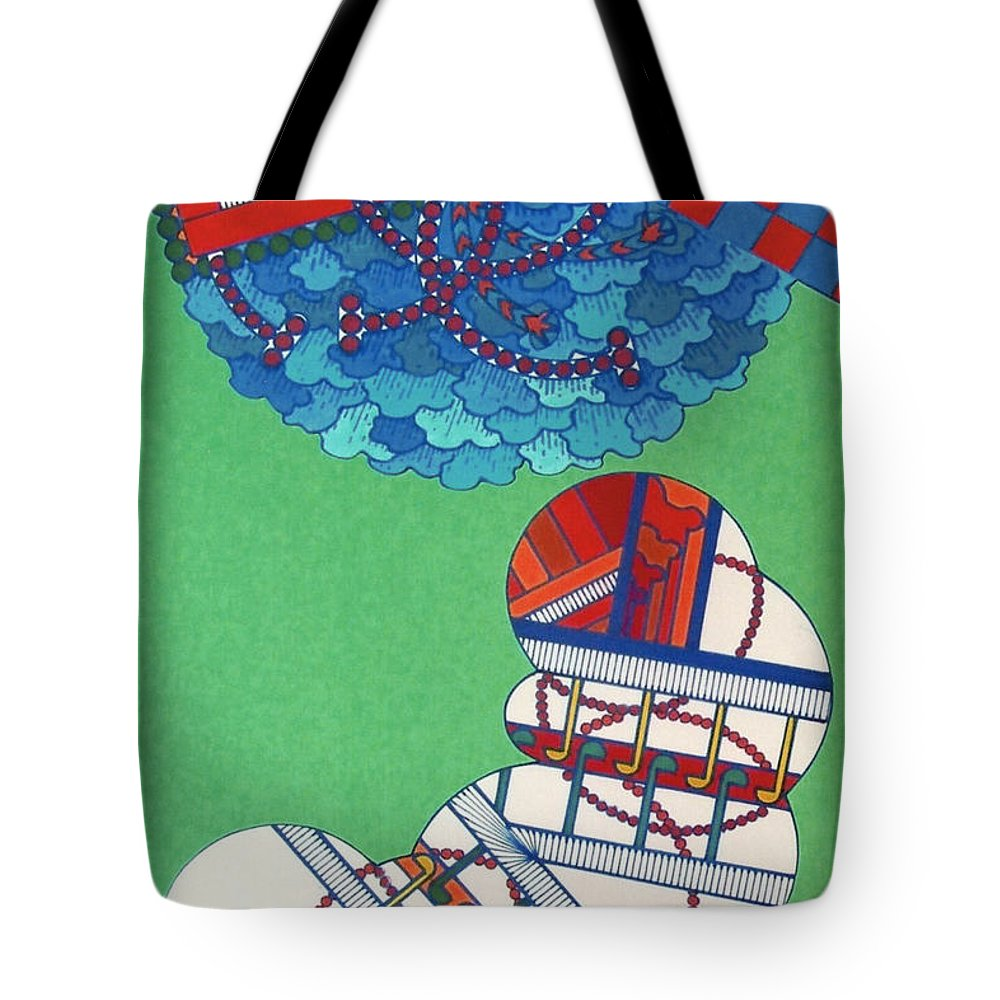 Checker Board Abstract Tote Bag featuring the drawing Rfb0429 by Robert F Battles