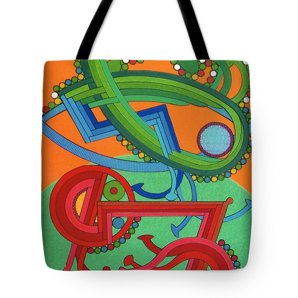 Harvest Rising Tote Bag featuring the drawing Rfb0430 by Robert F Battles