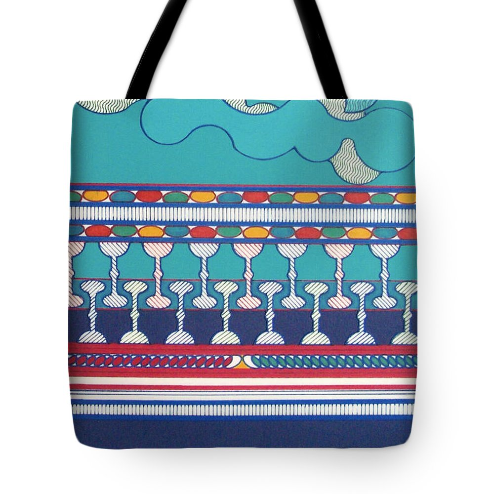 Blue Sky Tote Bag featuring the drawing Rfb0432 by Robert F Battles