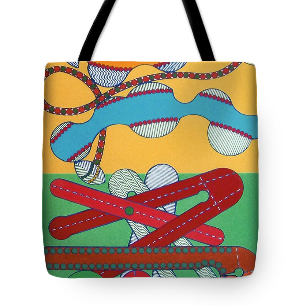 Boomerang Sky Tote Bag featuring the drawing Rfb0433 by Robert F Battles