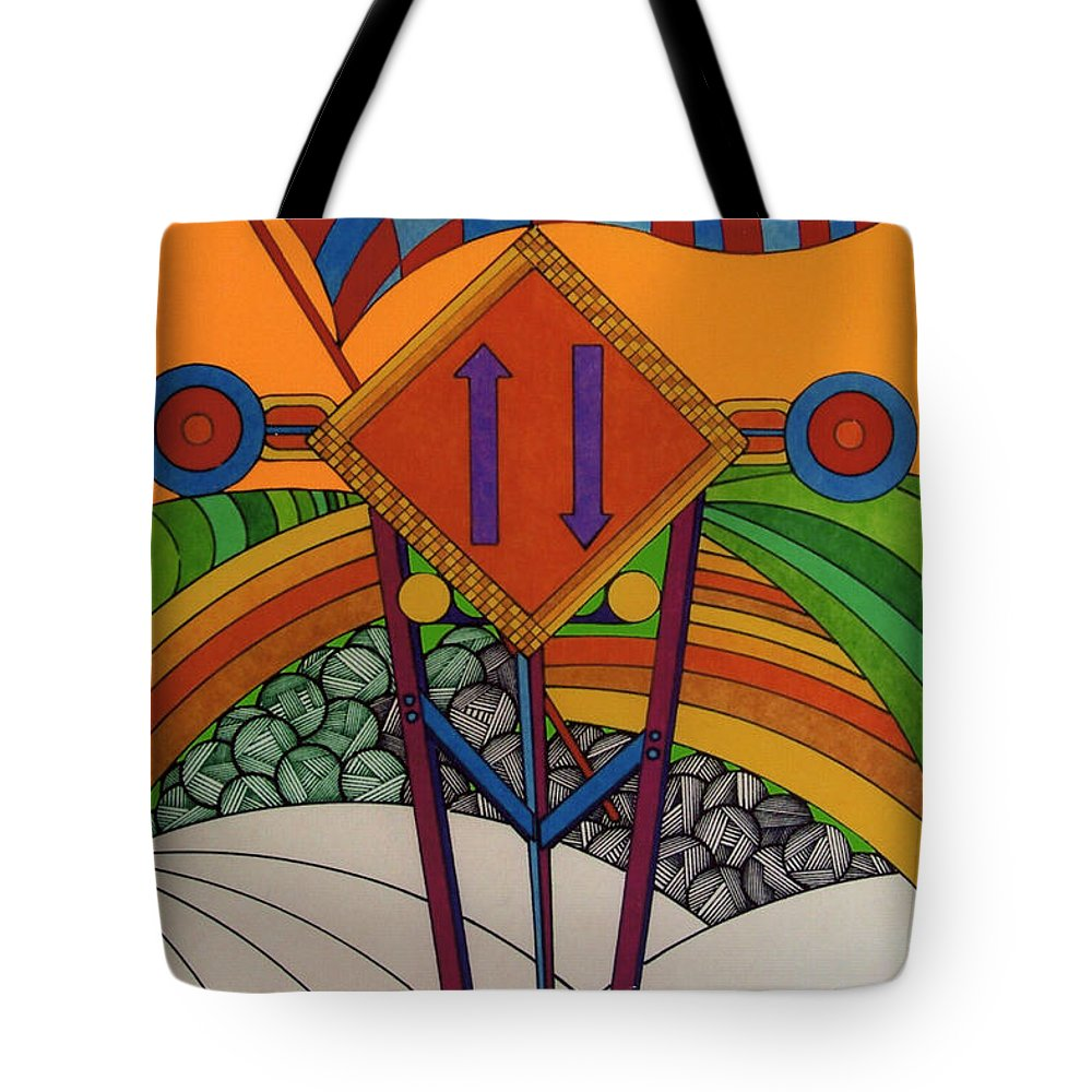 Bumpy Road Ahead Tote Bag featuring the drawing Rfb0506 by Robert F Battles