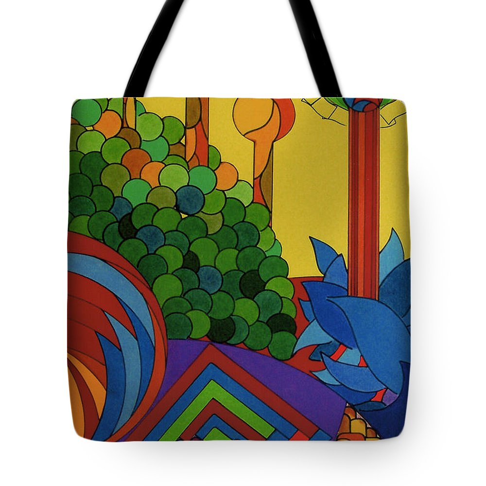 Fantasy Treeline Tote Bag featuring the drawing Rfb0509 by Robert F Battles
