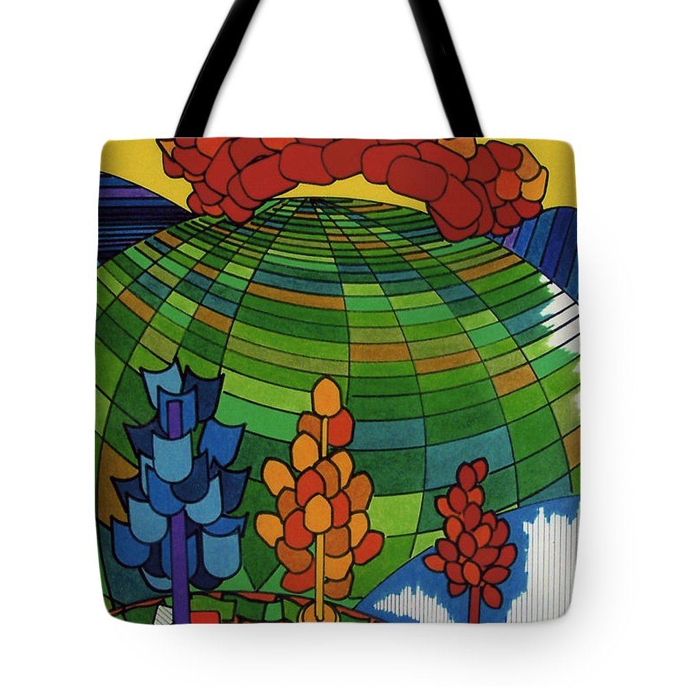 Green World Tote Bag featuring the drawing Rfb0510 by Robert F Battles