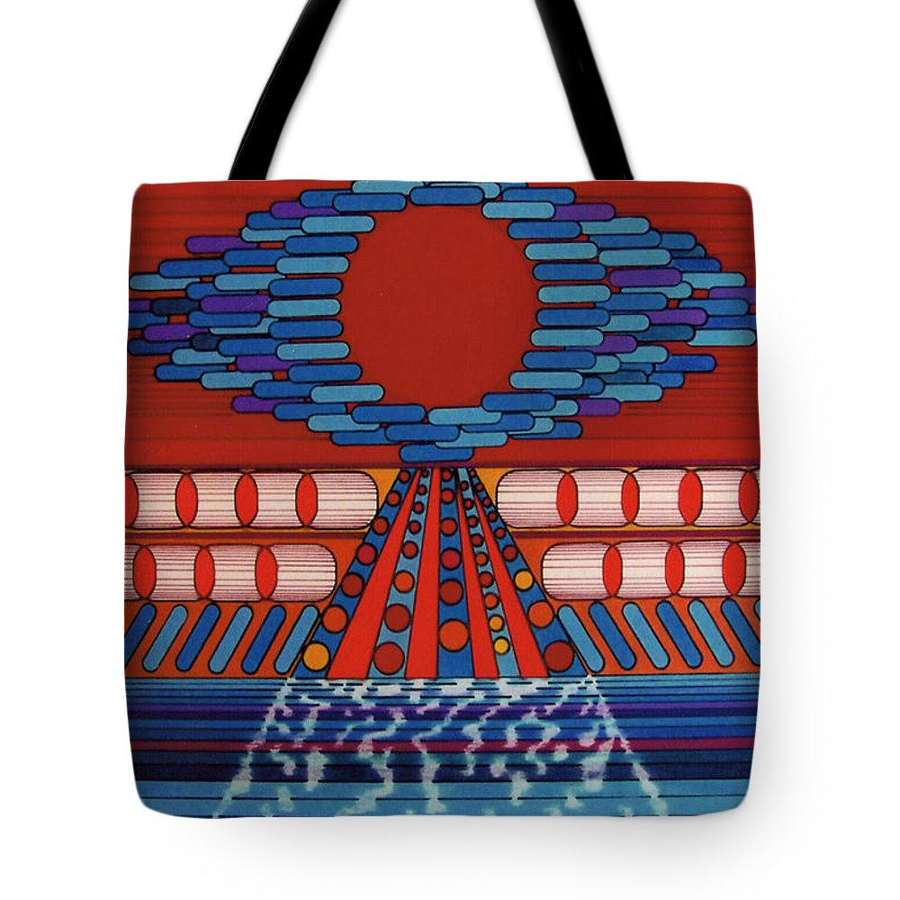 Red Eye Tote Bag featuring the drawing Rfb0511 by Robert F Battles