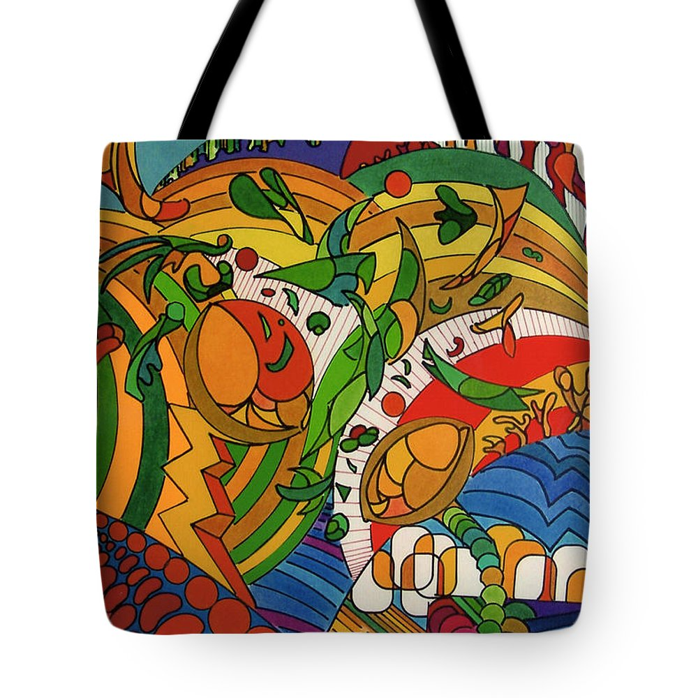 Rolling Hills Of Fantasy Tote Bag featuring the drawing Rfb0513 by Robert F Battles