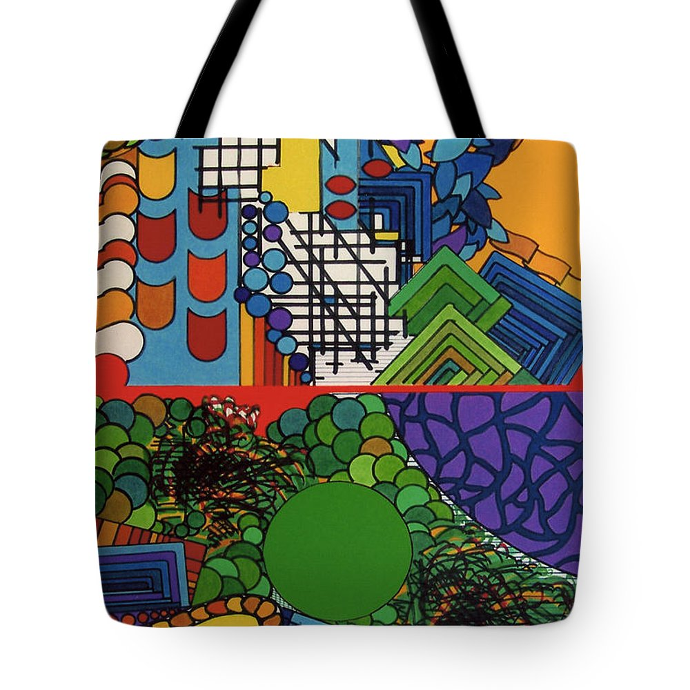 Split Views Tote Bag featuring the drawing Rfb0516 by Robert F Battles