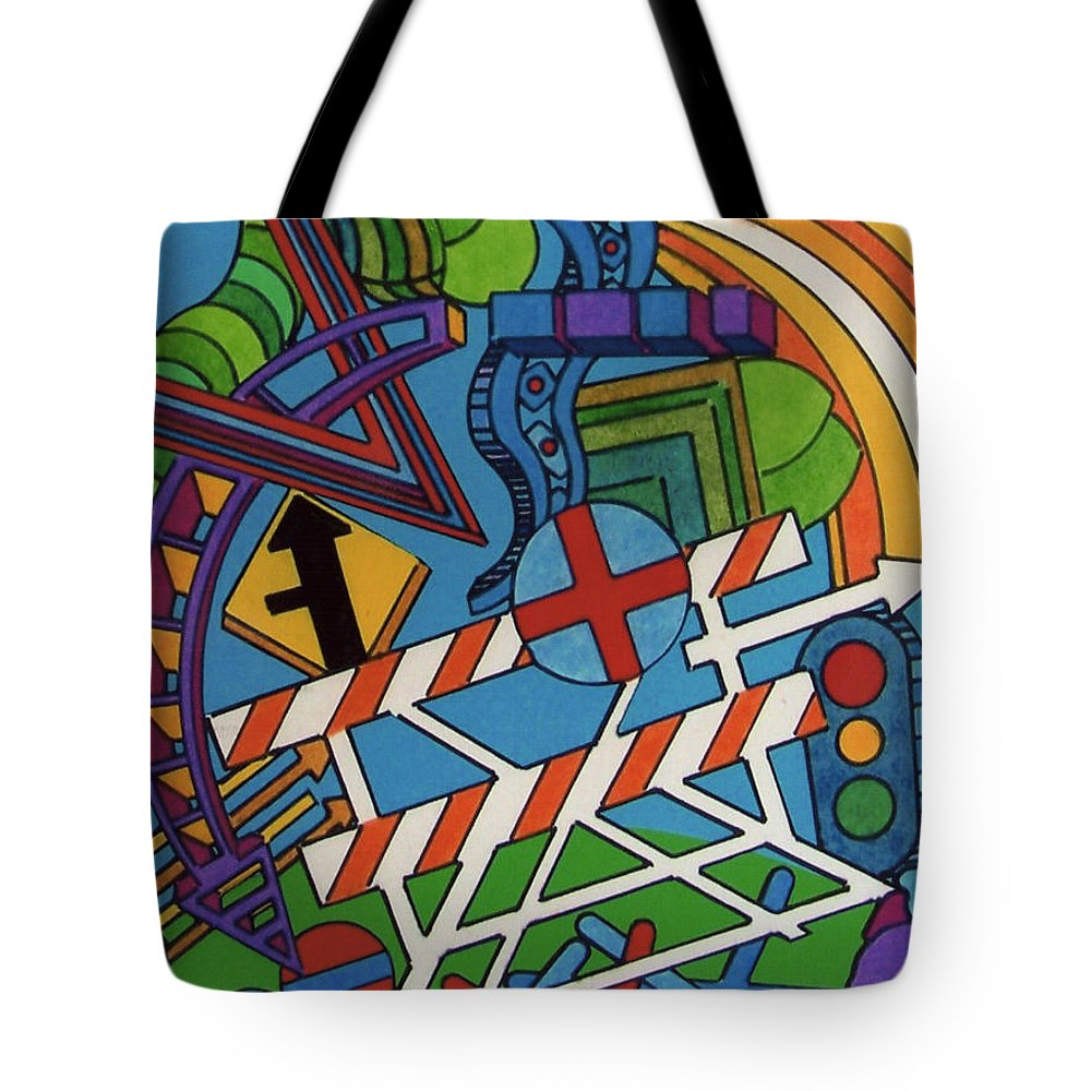 Cross Town Traffic Jam Tote Bag featuring the drawing Rfb0519 by Robert F Battles