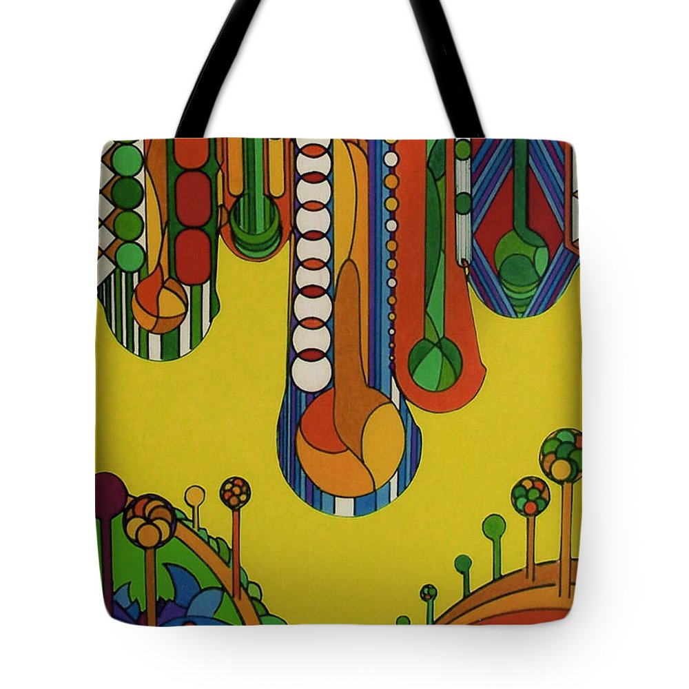 Morning Dew Drops Tote Bag featuring the drawing Rfb0521 by Robert F Battles