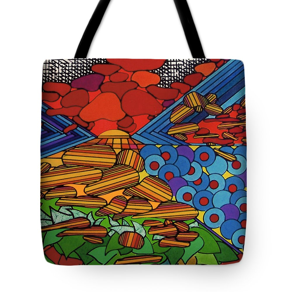 Wondering Stones Tote Bag featuring the drawing Rfb0522 by Robert F Battles