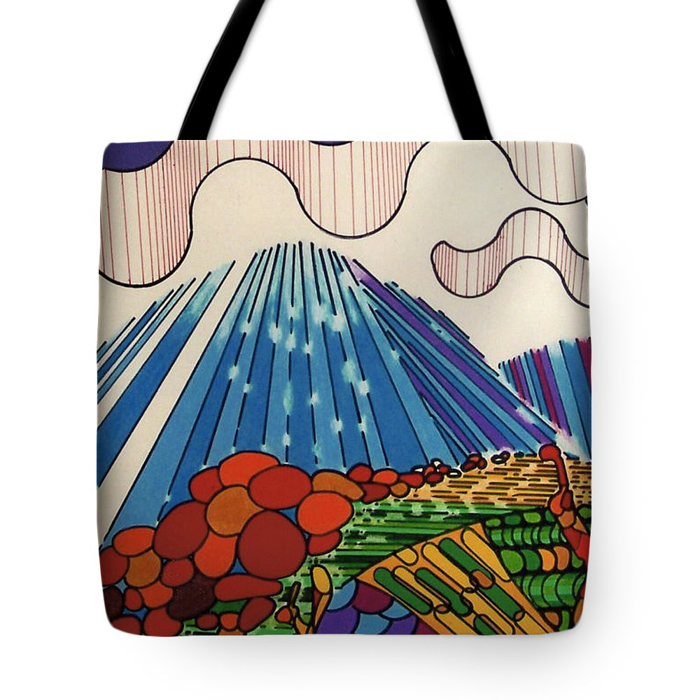 Tidal Wave Tote Bag featuring the drawing Rfb0523 by Robert F Battles