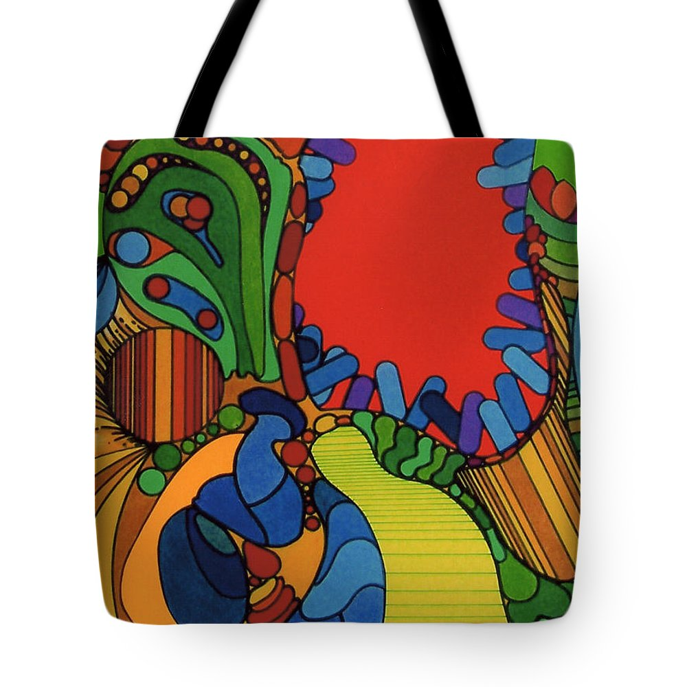 Canibal Flower Tote Bag featuring the drawing Rfb0527 by Robert F Battles