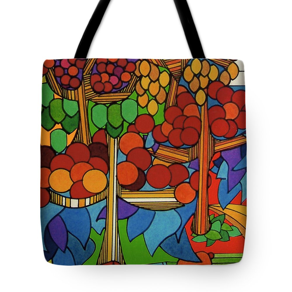 Apple Orchard Tote Bag featuring the drawing Rfb0528 by Robert F Battles