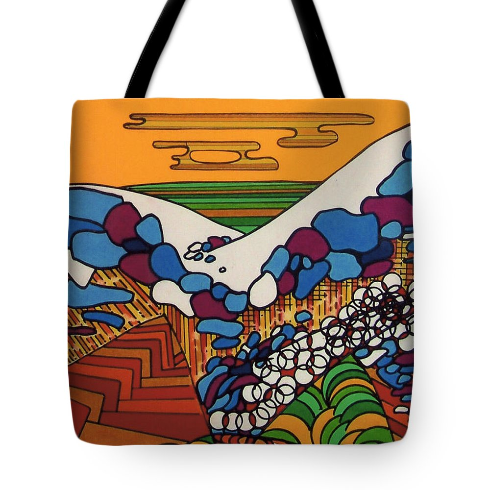 Saharah Rising Tote Bag featuring the drawing Rfb0530 by Robert F Battles