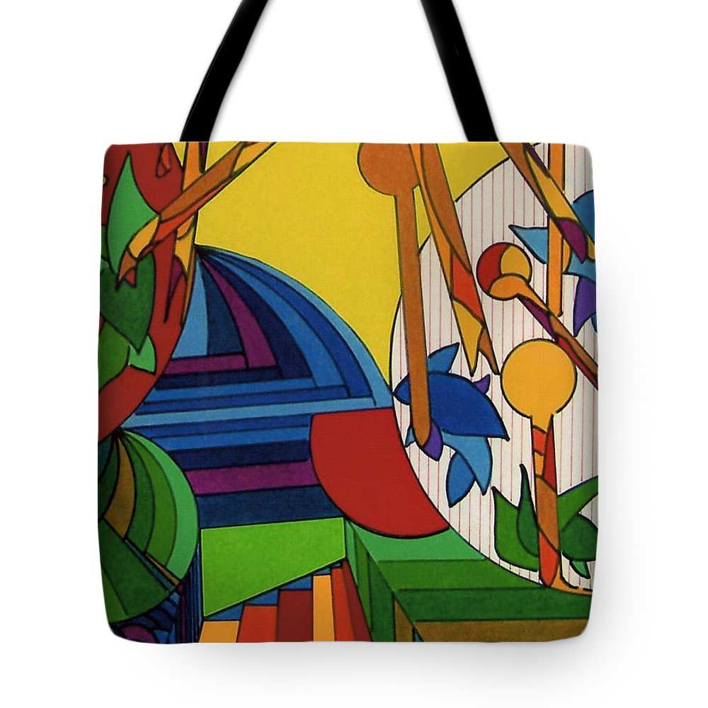 Junglescape Tote Bag featuring the drawing Rfb0532 by Robert F Battles