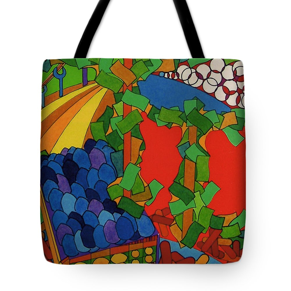 Blueberry Trail Tote Bag featuring the drawing Rfb0533 by Robert F Battles
