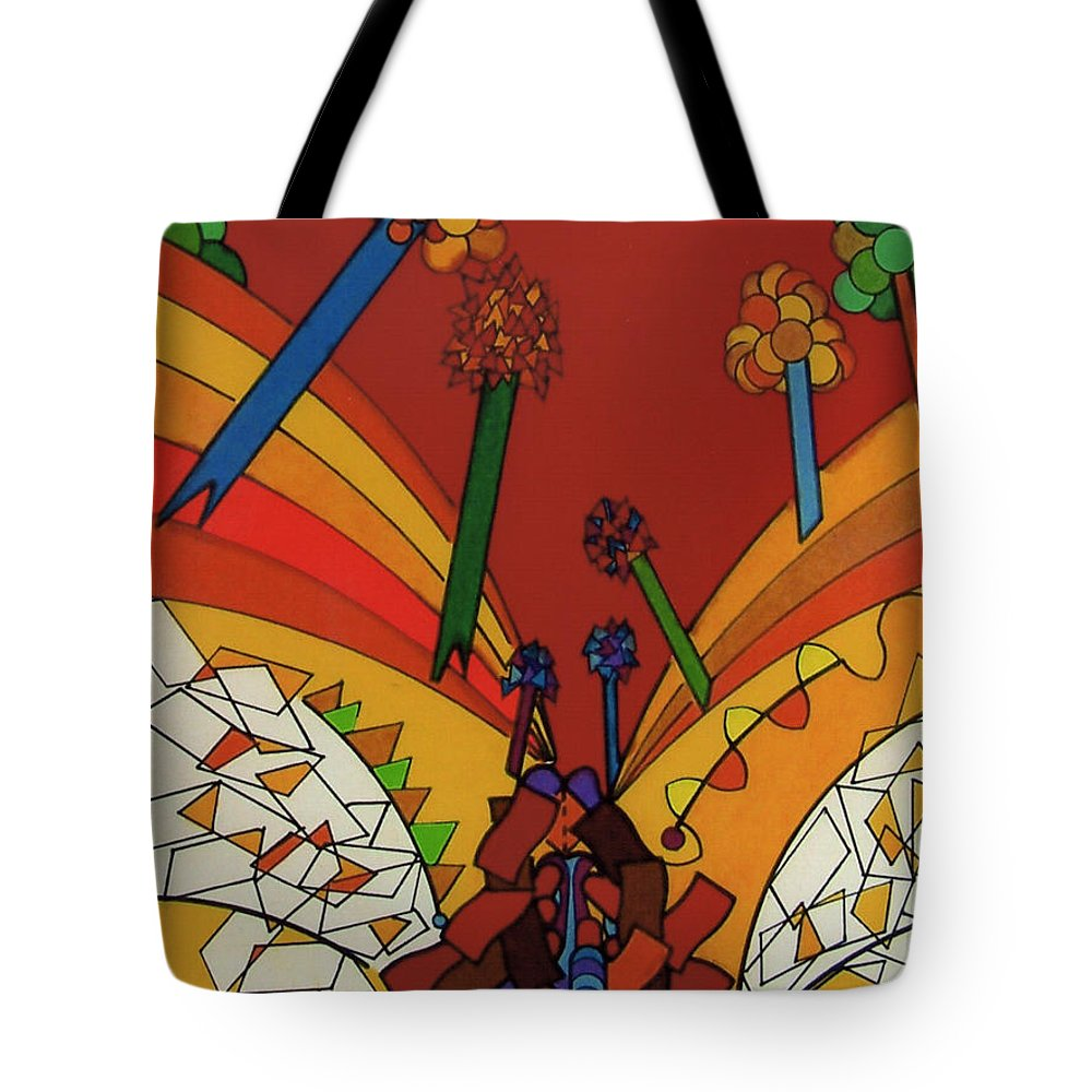 Red Valley Tote Bag featuring the drawing Rfb0535 by Robert F Battles
