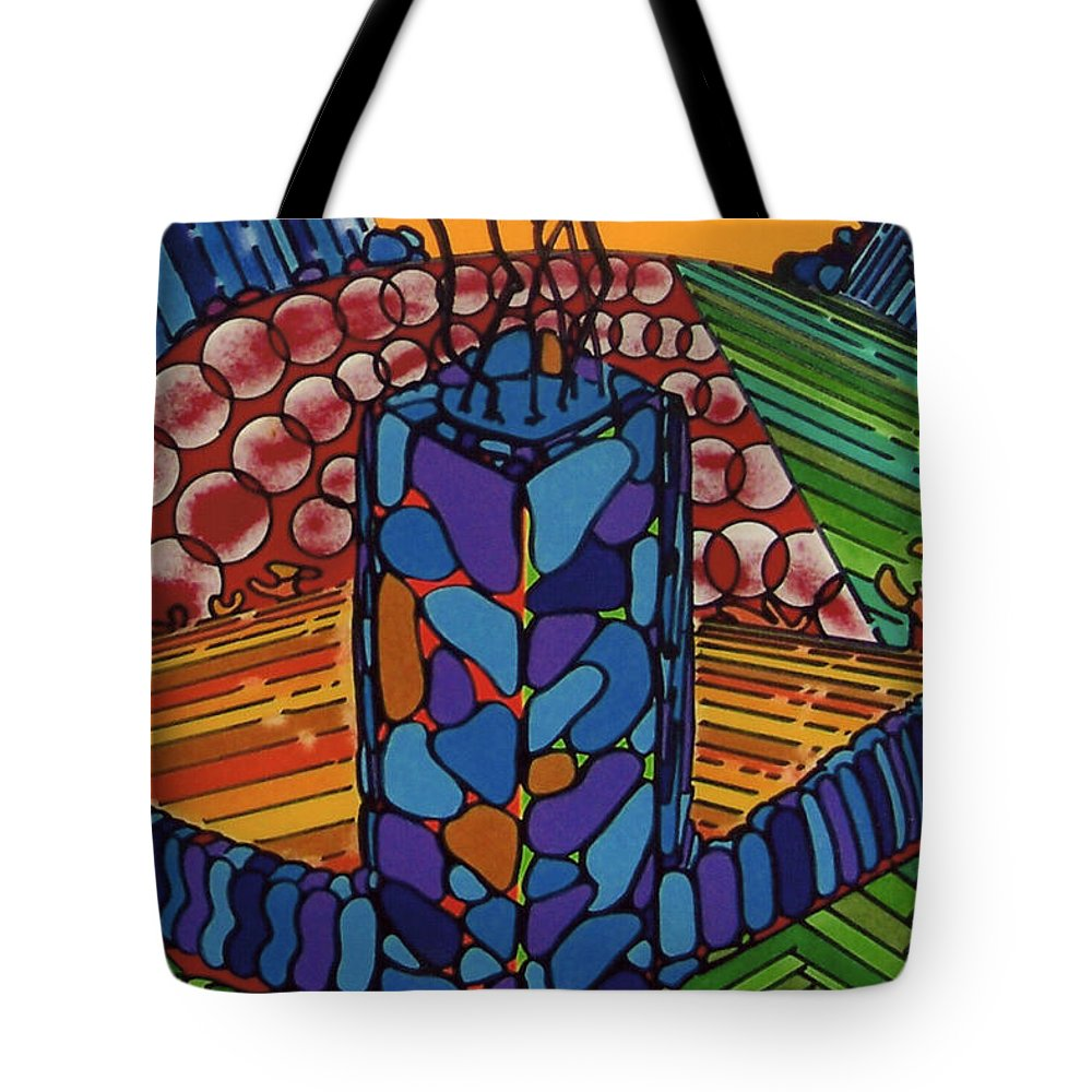 Lonely Tree Tote Bag featuring the drawing Rfb0536 by Robert F Battles