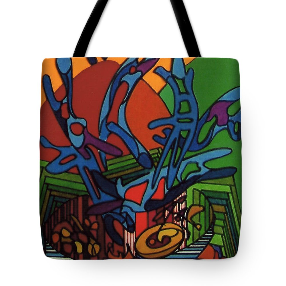 Dancing Landscape Tote Bag featuring the drawing Rfb0538 by Robert F Battles
