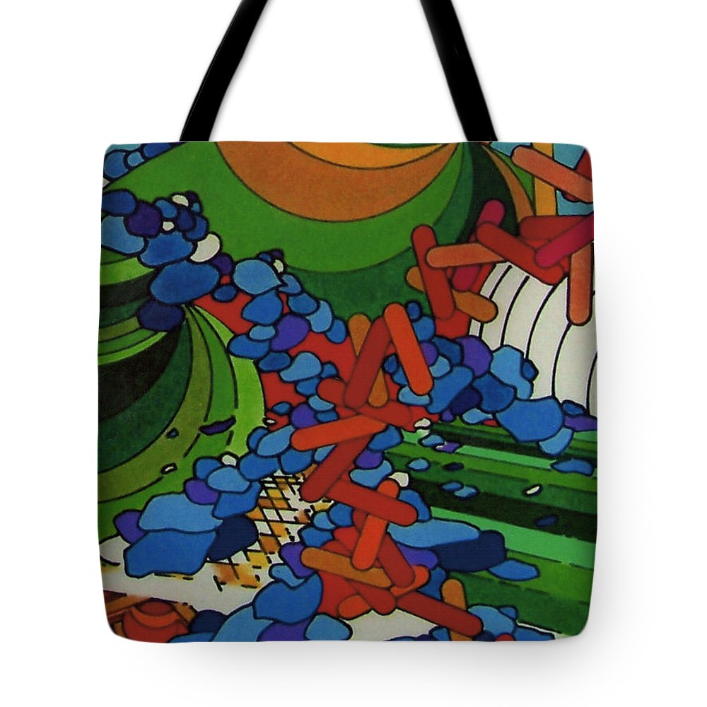 Blue Stone Path Tote Bag featuring the drawing Rfb0541 by Robert F Battles