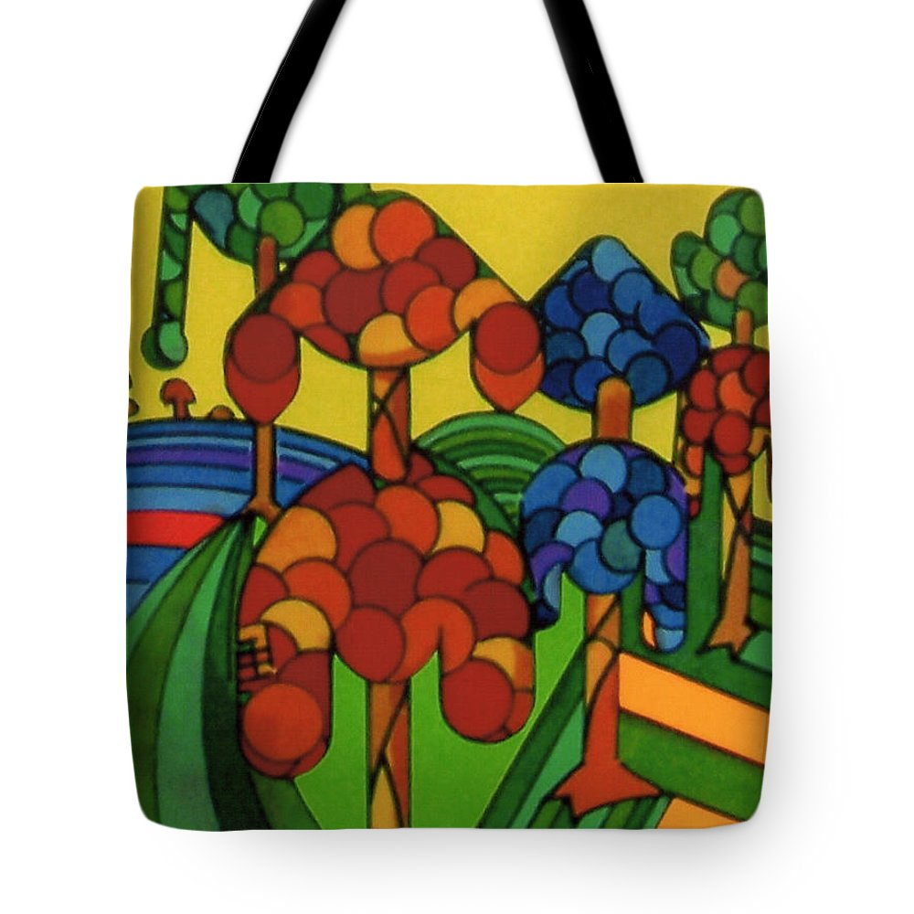 Wondering Flock Tote Bag featuring the drawing Rfb0544 by Robert F Battles