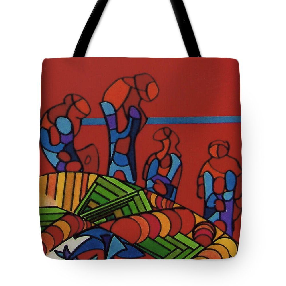 Red Wonderers Tote Bag featuring the drawing Rfb0546 by Robert F Battles