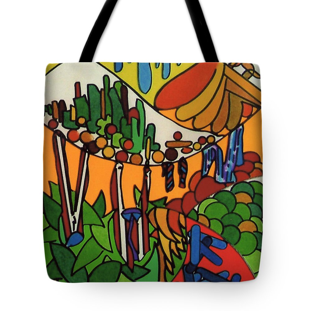 Tropical Oasis Tote Bag featuring the drawing Rfb0547 by Robert F Battles