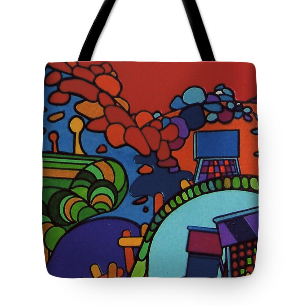 Red Path Tote Bag featuring the drawing Rfb0548 by Robert F Battles