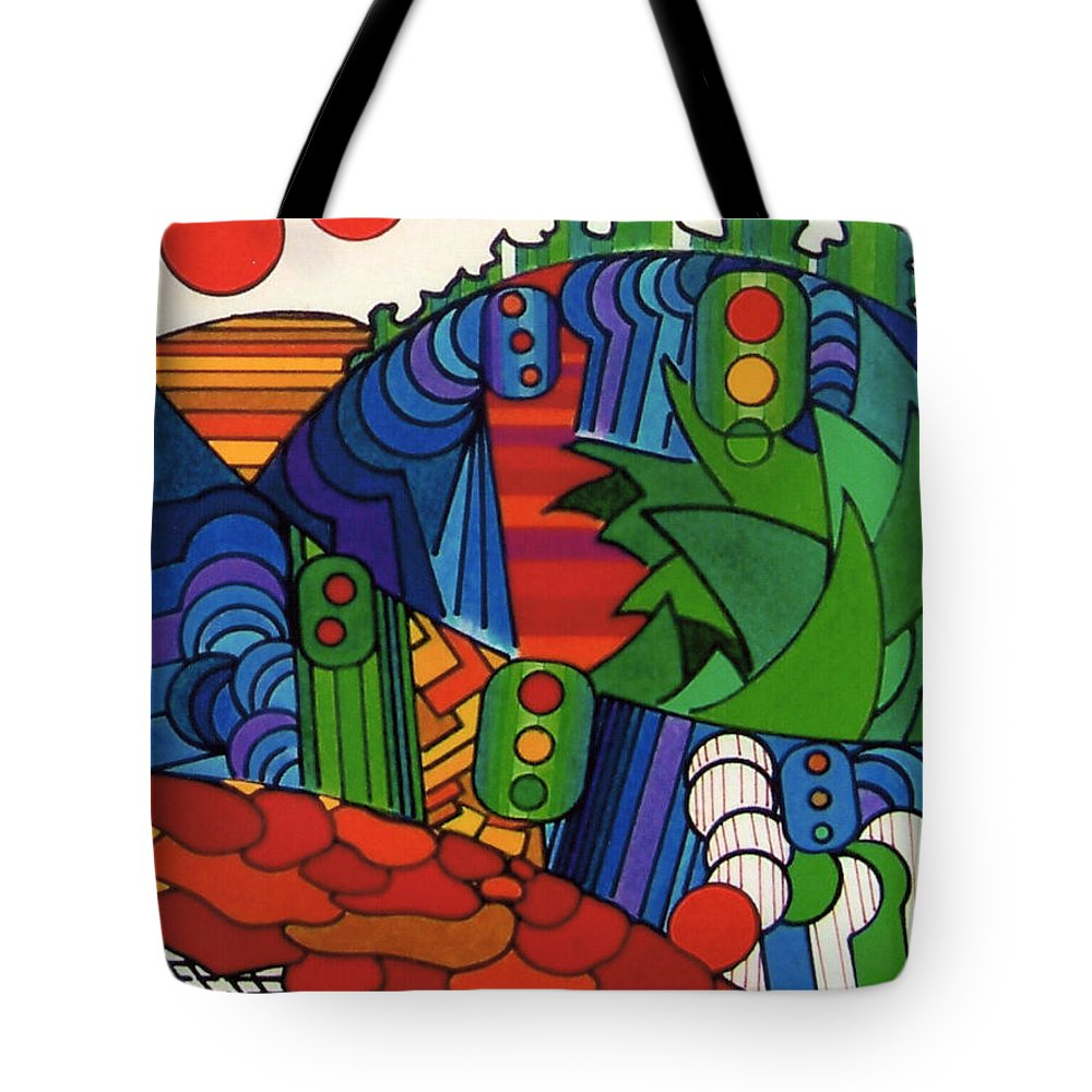 Abstract Tote Bag featuring the drawing Rfb0549 by Robert F Battles