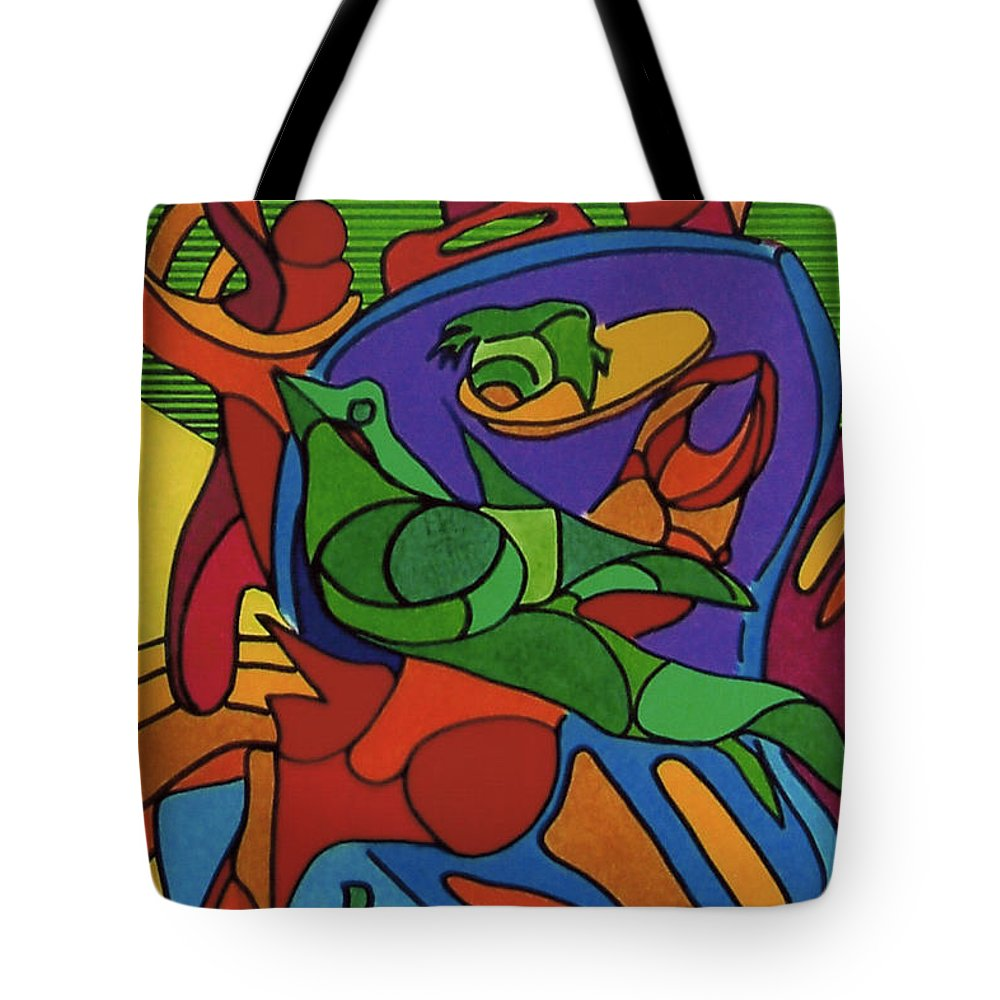 Abstract Tote Bag featuring the drawing Rfb0550 by Robert F Battles