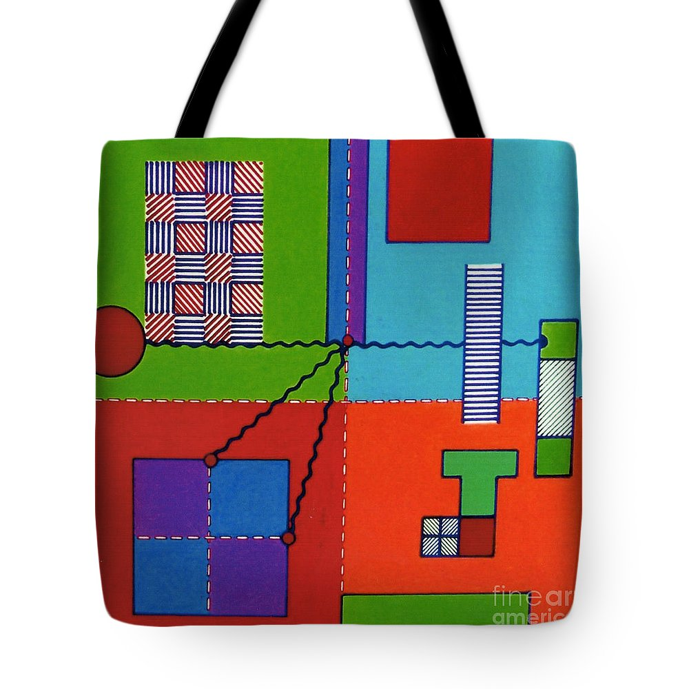 Four Square Tote Bag featuring the drawing Rfb0552 by Robert F Battles