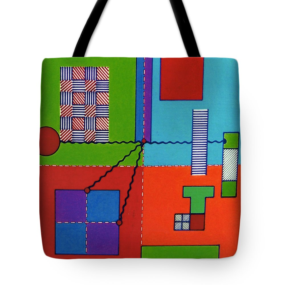 Shape Connection Tote Bag featuring the drawing Rfb0553 by Robert F Battles